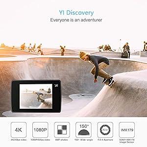 "YI Cámara de acción Discovery 4K Sports y Action CAM con Pantalla táctil de 2.0"", WiFi Integrado, Control Remoto, Funda Impermeable, 2 baterías Recargables y Accesorios de Montaje, Sony Image Sensor"