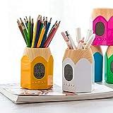 Big Pencil Head Calendario electrónico multifunción con soporte para bolígrafo, reloj electrónico con luz de fondo y soporte para bolígrafo, color azul