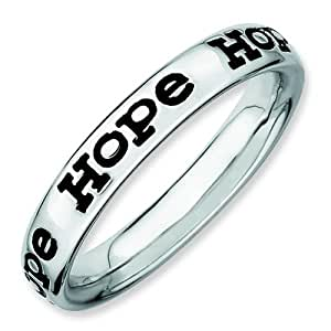 Stackable Expressions Size 9 - Hope Polished 3.5mm Band Sterling Silver Stackable Ring UK Ring Size - R
