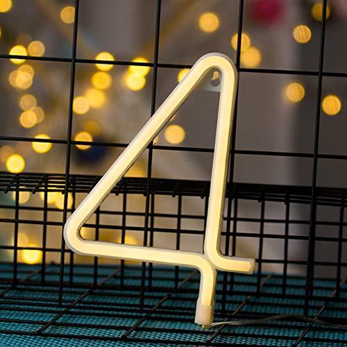 Number 4 Form Neonlichter mit batteriebetriebenes Leuchtreklamen USB Powered Nacht Neon-Licht-warmes Weiß Neon-Wandleuchte Dekorative Wort Lichter leuchten Sie Schlafzimmer Hochzeit im Club Weihnacht (Verkleiden Sich Als Ein Zeichen)