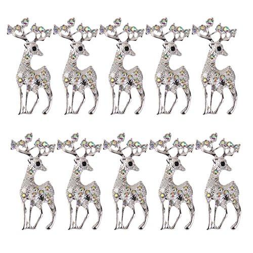 IPOTCH 10pcs Alce Natale Rhinestone Applique Cucito Bricolage Diy Hobby Capelli Decorazioni