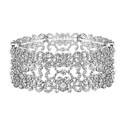Ever Faith Damen österreichische Kristall Floral Love Heart Art Deco Braut Stretch Armband klar Silber-Ton