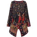 UJUNAOR Damen-Oberteile aus Baumwolle und Leinen mit Ethno-Print Top Bluse(Multicolor,CN 3XL)