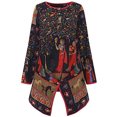 IZHH Plus Size Damen LongSleeveShirt Vintage Langarm Damen BeiläUfige Lose Bluse Gypsy Tops Ethnischen Stil Gedruckt Baumwolle T-Shirt(Mehrfarbig,XX-Large) -