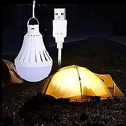 LEDMOMO Bombilla de luz USB que acampa Luz portátil Bombilla LED de luz nocturna para el hogar Almacén de emergencia al aire libre que camina 9W (6500K)