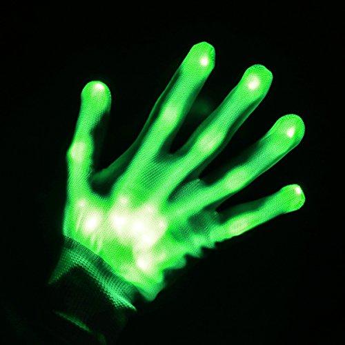 Weiye LED Handschuhe - Party Licht Show Skelett Halloween Handschuhe - Multicolor LED Handschuh für Vereine Licht Show Dancing Handschuhe für Clubbing, Halloween, RAVE, Disco, und Party grün, 1pcs