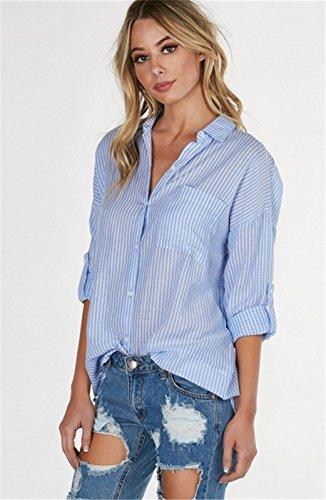 Mode Knopfleiste Vorne Gestreiftes Gestreift Rolled aufrollbare ärmel Langarm Bluse Hemd Shirt Oberteil Top Blau Blau