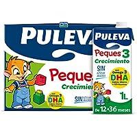 Puleva Brik 59568 Peques Leche Infantil de Crecimiento Tipo 3 - Pack de 6 x 1 L - Total: 6 L, Blanco