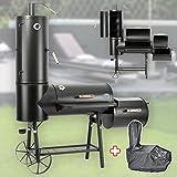 130kg Profi Smoker BBQ Grill Grillwagen Holzkohle 3-5mm Stahl Vertikal Haube