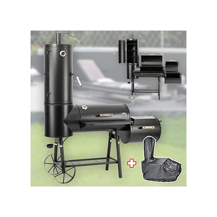 Druline 130kg Profi Smoker Bbq Grill Grillwagen Holzkohle 3 5mm Stahl Vertikal Haube
