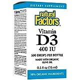 Natural Factors, Gouttes de Vitamine D3 pour Enfants, 400 IU, 0.5 fl oz (15 ml)