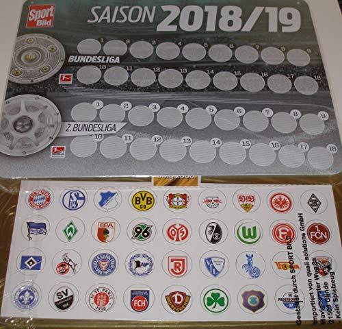 Unbekannt Fussball Bundesliga Magnettabelle 1. Liga und 2. Liga NEU OVP Saison 2018 2019 und bmg2000 Aufkleber