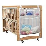 Eleoption Baby Diaper Organiseur pour chambre d'enfant - à suspendre Diaper Sac de rangement Parfait Caddy de chevet pour lit bébé à poche, 4 accessoires, chiffon de lit de bébé jouet Tidy Organiseur de berceau