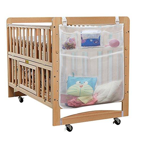 Eleoption bébé organisateur de couches pour chambre de bébé - sac de rangement suspendu de couche-culotte Caddy parfait chevet pour lit de bébé, 4 accessoires de couche de poche, lit bébé chiffon Tidy