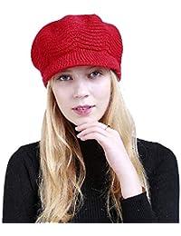 Yuson Girl Sombrero del cráneo de la Gorrita Tejida de Slouchy Cable Knit  Beanie del Invierno 430b72c715e