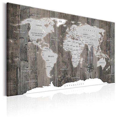 murando Weltkarte Pinnwand & Vlies Leinwand Bild 120x80 cm XXL Bilder mit Kork Rückwand 1 Teilig Kunstdruck Korktafel Korkwand Memoboard Pinboard Wandbilder Karte Landkarte k-C-0050-p-c