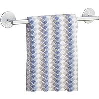 mDesign toallero adhesivo elegante de aluminio en color plateado - Para toallas de la cocina o baño - Fácil instalación - toalero sin taladro