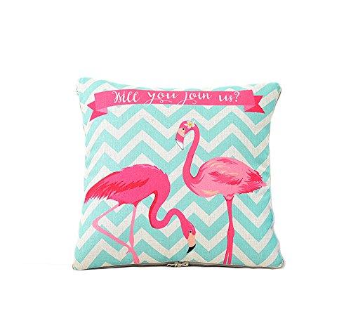 2 in 1 BaumwolleKissen Deckenkissen Sofa Flamingo Muster Blattmuster Verwandlungskissen & Decke 150x110cm Besucherdecke mit Kissen 40x40 cm Set