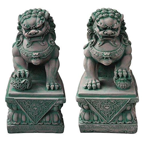 wilai gmbh decorazione di giardino, cane fu (o leone cinese), foo, maschio o femmina, statuetta importata di thaïlande, rosso/verde (10106)