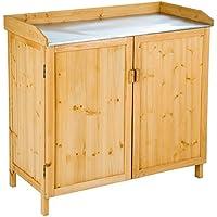 TecTake Table à plantes en bois avec armoire basse Table de semis et de plantation | plan de travail galvanisé | (LxlxH): 98 x 48 x 95 cm