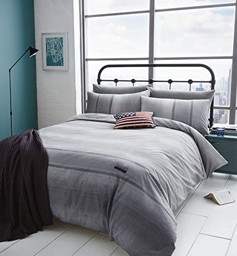 Catherine Lansfield Denim Easy Care King Duvet Set Grey Best Price and Cheapest