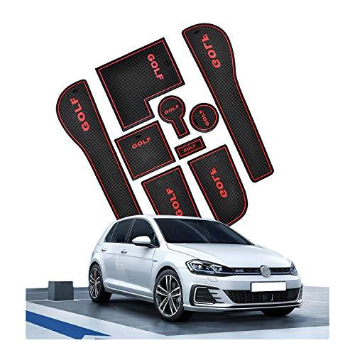 CDEFG Tappetino Antiscivolo per Golf 7 R GTD GTI GTE Antipolvere Tappetini in Gommaper per Interni Auto (Rosso)