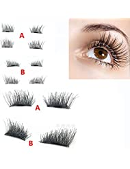 3D Faux Cils Magnétique, Kolylong Vendre! 1 Paire NOUVEAU Ultra-mince 0.2 mm Magnetic Eye Lashes 3D Mink Reusable False Magnet Naturel Faux Cils Parfaits Cils (B)