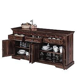 Naturehood Wooden Crockery Unit   Sideboard cabinet (Mahogany finish, Sheesham Wood)
