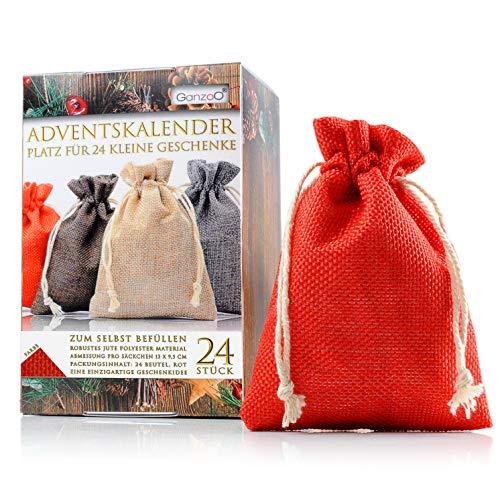 Ganzoo 24er Set Jutesäckchen/Jute-Sack für Adventskalender mit Geschenk-Verpackung, 13cm x 9,5cm, Jutebeutel, Stoffbeutel, Natur Säckchen, Geschenksäckchen, Sack, Beutel, Farbe Rot – Marke