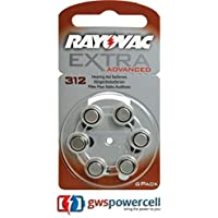 Rayovac pilas para audífono 1,45 V , 6 unidades (para ambas orejas batteries) - Acoustic special 675/312/13/10 - extra advanced 10/13/312/675 - extra mercury free 10/13/312/675 - 6 blister nuevo & original 1x Nr. 312 Mercury Free 6er Blister