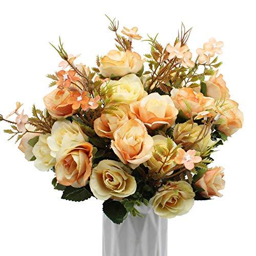 Bluexp 3 pacco 10 capi rose in seta artificiale fai da te falso foglia rosa bouquet vintage di fiori per matrimonio regali festa nuziale la decorazione domestica del partito champagne
