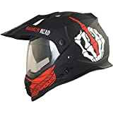 Broken Head Street Rebel Cross-Helm rot mit Visier | Enduro-Helm - MX Motocross Helm mit Sonnenblende - Quad-Helm (S 55-56 cm)