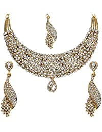 Penny Jewels Traditional Antique Gold Plated Fancy Necklace Set For Women & Girls