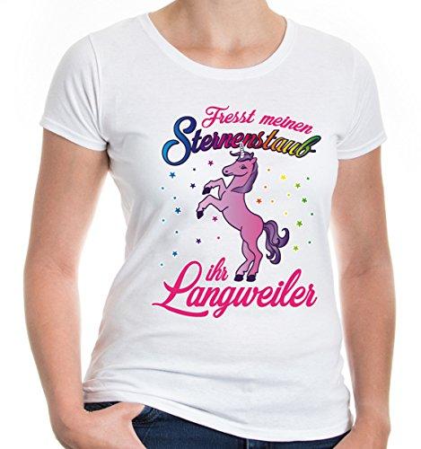 Kostüm Girl Horse - buXsbaum Damen Girlie T-Shirt Fresst Meinen Sternenstaub, Ihr Langweiler | Einhorn Spruch Regenbogen Fantasie | S, Weiß