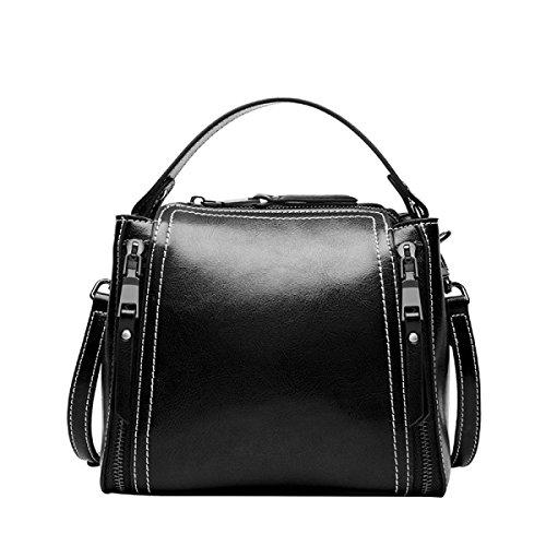 ZPFME Womens Handtasche Motorrad Tasche Wild Messenger Tragbar Umhängetasche Mini Damen Tasche Mädchen Party Retro Damen Mode Black