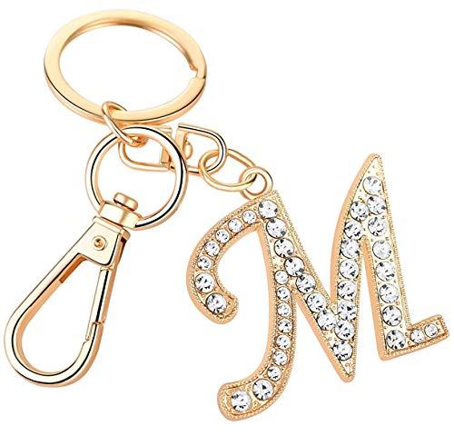 YUHUS Frauen Rose Gold Plated Alloy Autoschlüssel Ring mit Kristall Strass Alphabet Anfangsbuchstaben Schlüsselbund Größe L