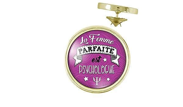 Pins Dor/é 20mm La Femme Parfaite est Psychologue Humour Femme Id/ée Cadeau Pins Bouton Epinglette Fond Violet