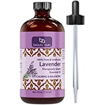 Beauty Aura 100% Pure Lavender Essential Oil - 4 oz Bottle - Finest Quality Therapeutic Grade Essential Oils - Ideal For Aromatherapy