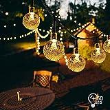 VIFLYKOO Guirlandes Solaires Extérieures LED, Boules Cristal de 7 Mètres 50 Diodes Blanches Chaudes Cristal étanches Allumant pour Jardin Patio arbres Décoration [Classe énergétique A +++]