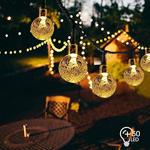 VIFLYKOO LED Solar Lichterkette außen,Kristall Kugeln 7 Meter 50 LEDs Warmweiß Lichterkette Wasserdicht Kristallbälle Beleuchtung für Garten Terrasse Bäume Hof Haus Party Deko [Energieklasse A+++] -
