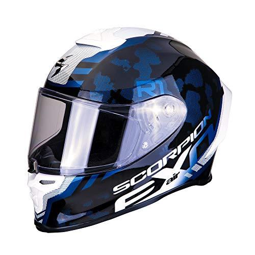 SCORPION Casque moto EXO-R1 AIR OGI Black-White, Noir/Bleu/Blanc, S