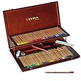 Lyra - Coffret bois de 96 crayons de couleur aquarellables Rembrandt + les accessoires, couleurs assorties