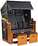 Möbelcreative Strandkorb Ostsee XXL Volllieger 2 Sitzer - 120 cm breit - grau weiß inklusive Schutzhülle, ideal für Garten und Terrasse