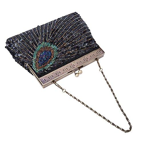 Fascetta Handmade dell'innamorato del pavone ha bordato la borsa del sacchetto di cerimonia nuziale della borsa di sera ricamata (Argento) Nero