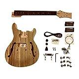 gdprzs .mahogany Semi hohl Körper mit Zebrawood Furnier mit weißen Bindung Karosserie E-Gitarre Selbstbau-Kit für Student & Gitarrenbauer zeigt