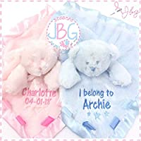 Luxury Personalised Baby Comforter, Fluffy Teddy Bear Blanket, New baby gift