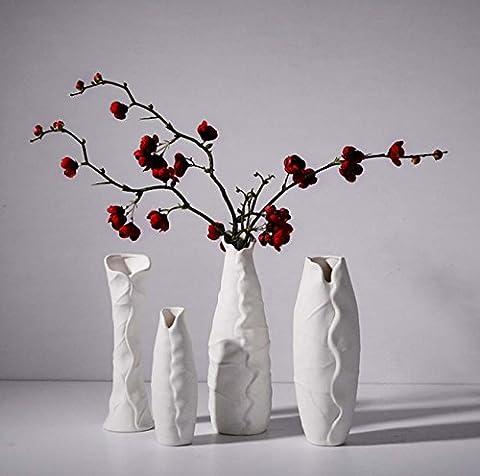 Einfache moderne weiße Vase kreative Kunst und Handwerk geschnitzte Blumentöpfe Wohnzimmer Schlafzimmer Studie Desktop Ornamente Blumen Arrangement Home Decor / Dekoration Crafts Ideal Geschenk , a set of 4
