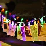 40 LED-Lichterkette, batteriebetrieben, Foto-Klammern, 8 Farben für Partys, Hochzeiten, zum Aufhängen, Fotodekoration, Kunstwerk, Weihnachtskartenhalter, Geschenk bunt