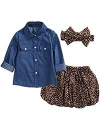 KISSION Bambine Ragazze Denim Camicetta Top + Leopardato Gonna + Fasce 3pcs  Ragazza Abbigliamento Abito Outfit fc4c31d3195