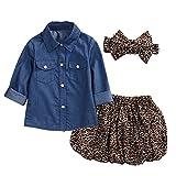 Brightup Kinder Baby Mädchen Langes Hülsen Denim Hemd und Leopard Rock und Stirnband
